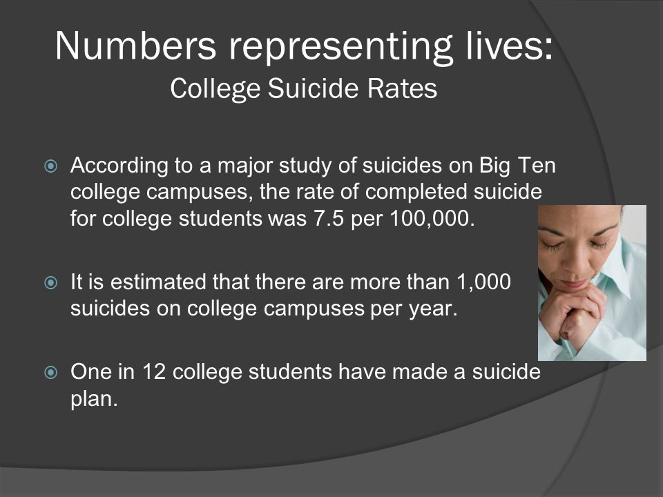 Numbers representing lives: College Suicide Rates  According to a major study of suicides on Big Ten college campuses, the rate of completed suicide for college students was 7.5 per 100,000.