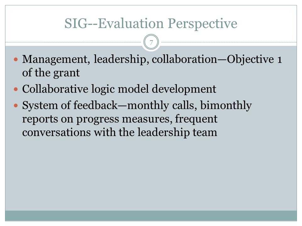 SPDG—Evaluation Perspective Family and technology threads are woven to most initiatives Sustainability and scaling up provide opportunities for agencies to work together Frequent communication with partners and leadership 8