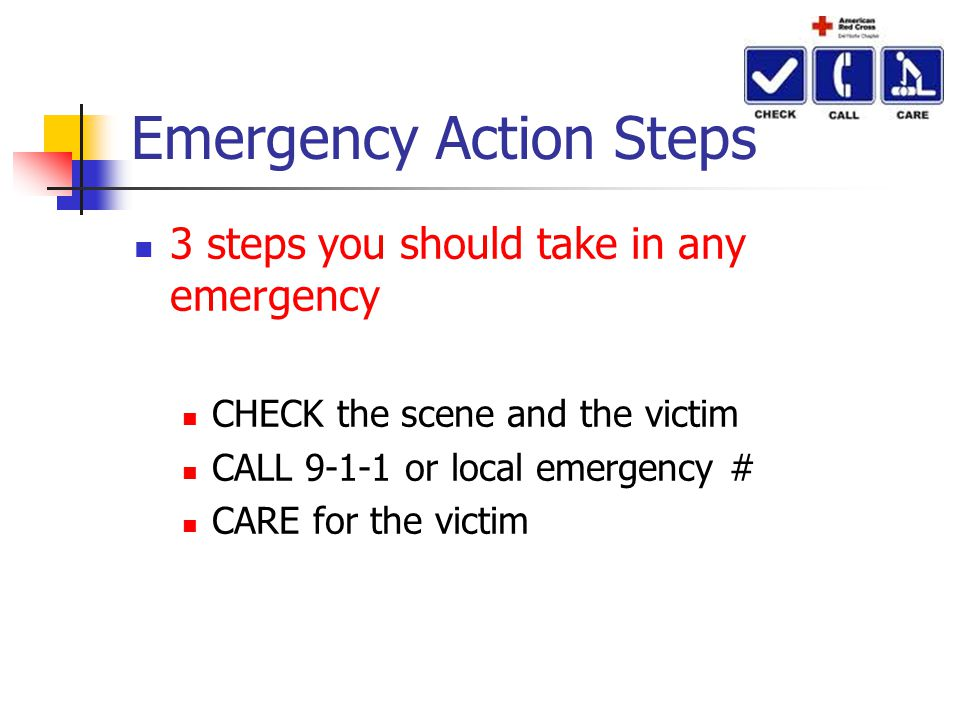 Emergency Action Steps 3 steps you should take in any emergency CHECK the scene and the victim CALL 9-1-1 or local emergency # CARE for the victim