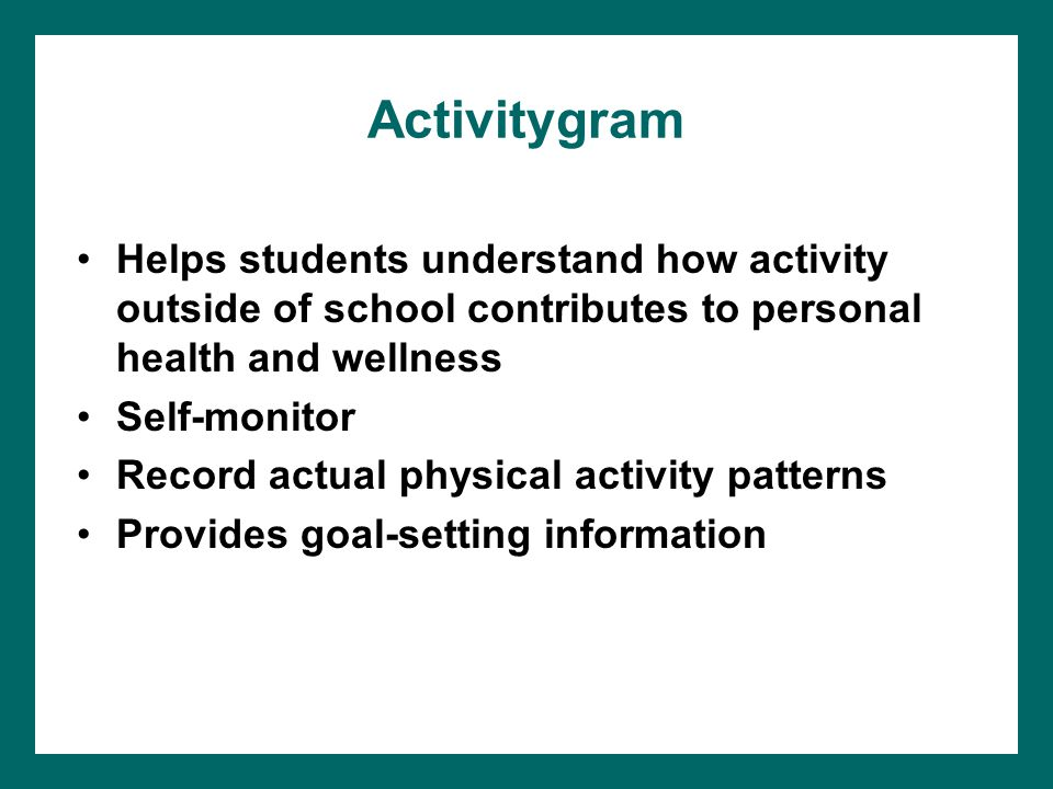 Activitygram Helps students understand how activity outside of school contributes to personal health and wellness Self-monitor Record actual physical activity patterns Provides goal-setting information