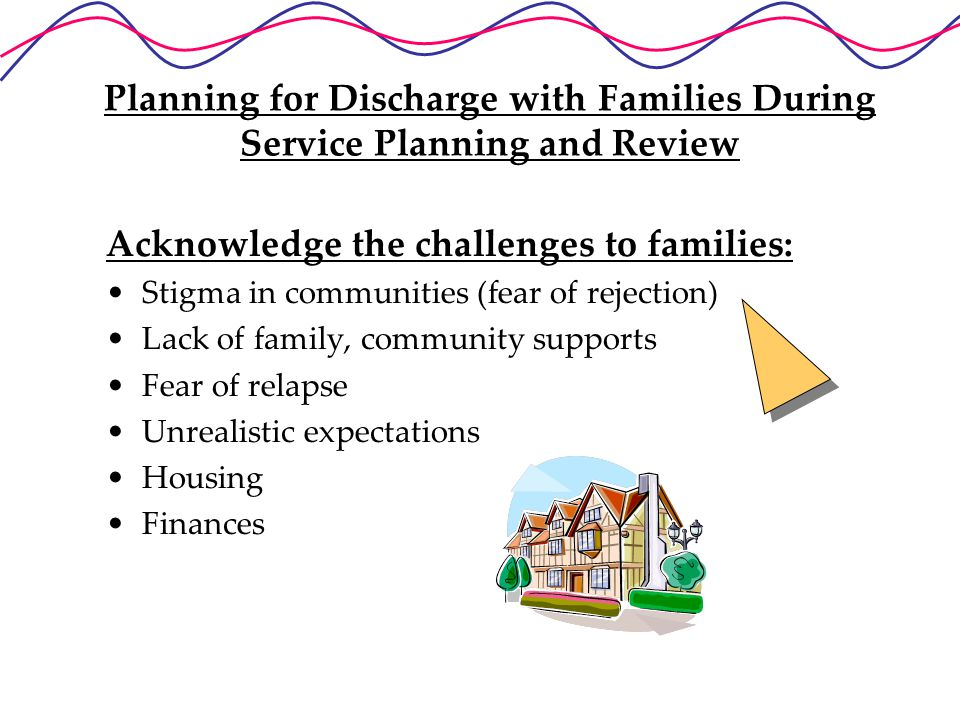 Planning for Discharge with Families During Service Planning and Review Acknowledge the challenges to families: Stigma in communities (fear of rejection) Lack of family, community supports Fear of relapse Unrealistic expectations Housing Finances