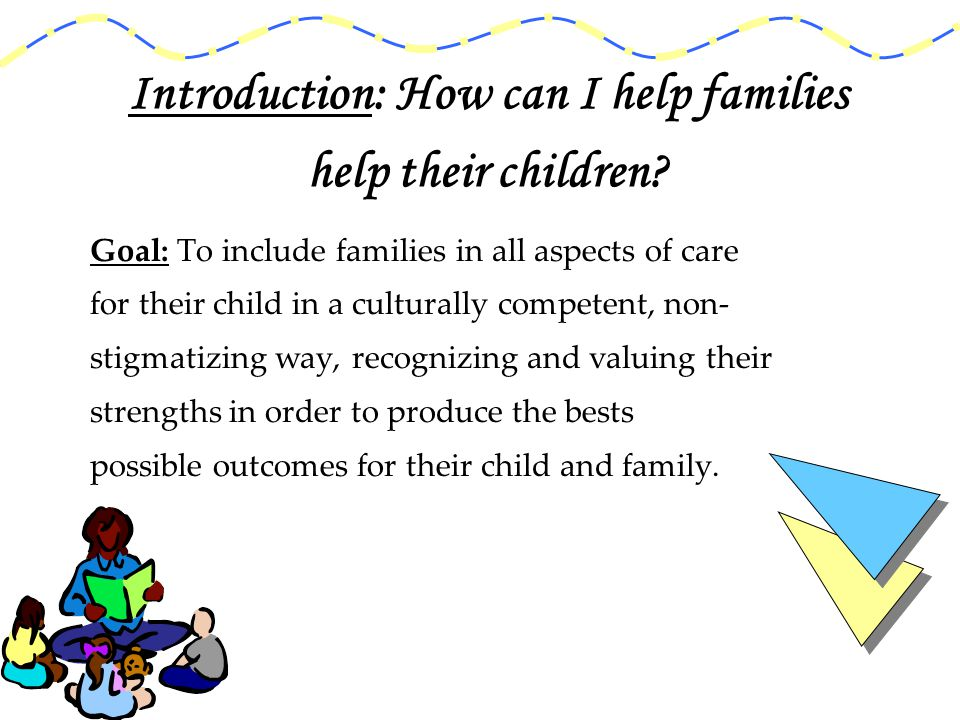 Including new family members in the process Ways to include family members in the process : Interview/Intake/admission Treatment planning In Home/Stay Discharge planning