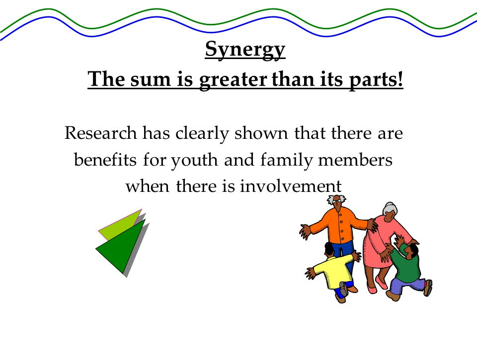 Research has clearly shown that there are benefits for youth and family members when there is involvement Synergy The sum is greater than its parts!