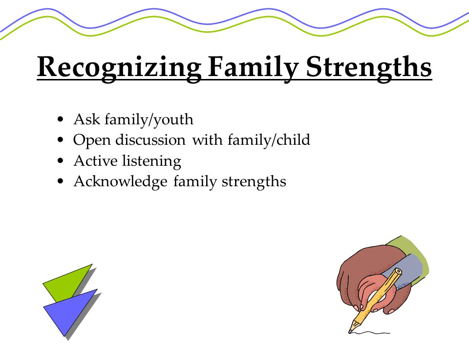 Recognizing Family Strengths Ask family/youth Open discussion with family/child Active listening Acknowledge family strengths