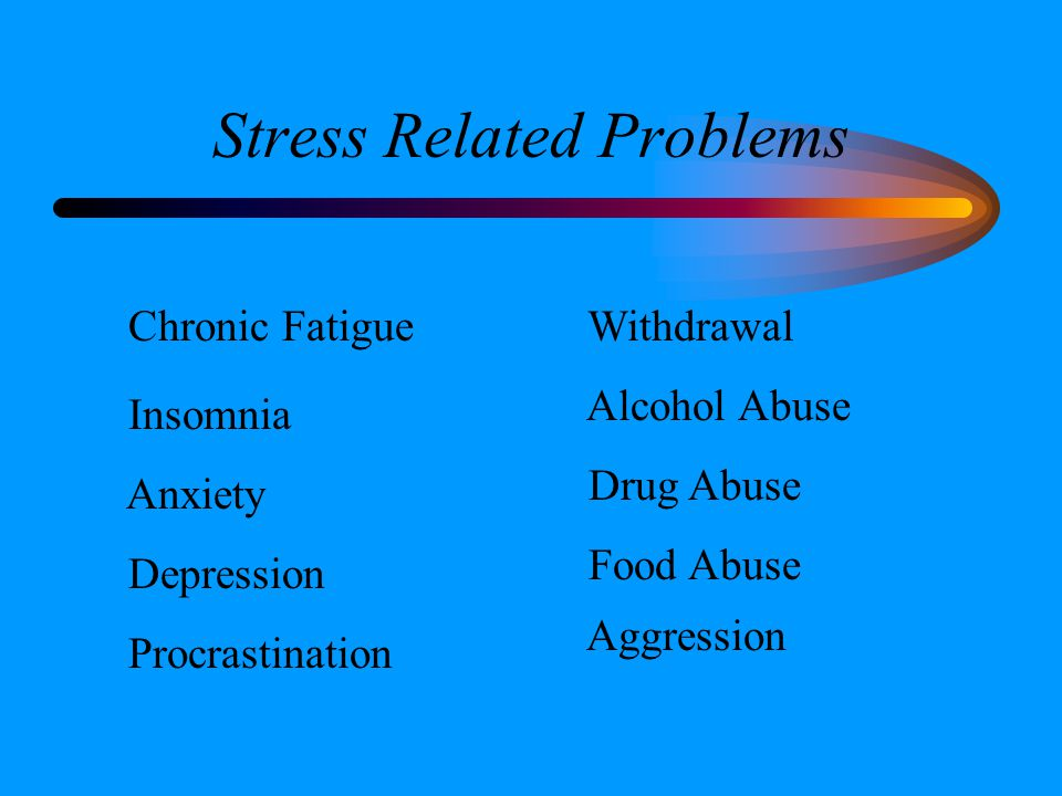 Stress Related Problems Chronic Fatigue Insomnia Anxiety Depression Procrastination Withdrawal Alcohol Abuse Drug Abuse Food Abuse Aggression