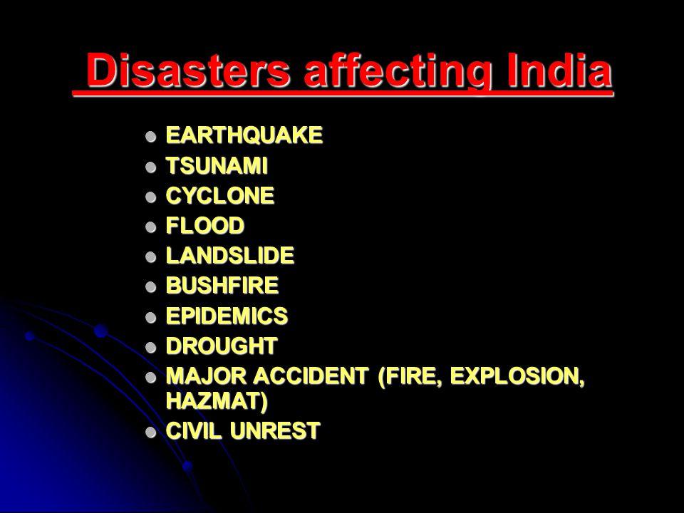 Disasters affecting India Disasters affecting India EARTHQUAKE EARTHQUAKE TSUNAMI TSUNAMI CYCLONE CYCLONE FLOOD FLOOD LANDSLIDE LANDSLIDE BUSHFIRE BUSHFIRE EPIDEMICS EPIDEMICS DROUGHT DROUGHT MAJOR ACCIDENT (FIRE, EXPLOSION, HAZMAT) MAJOR ACCIDENT (FIRE, EXPLOSION, HAZMAT) CIVIL UNREST CIVIL UNREST