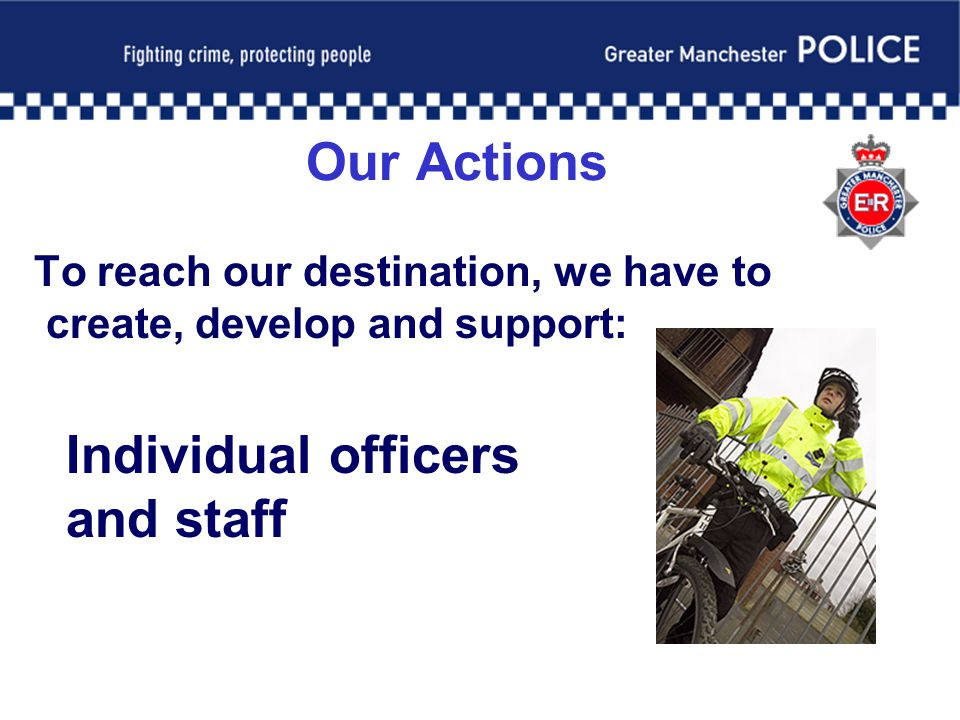 Our Actions To reach our destination, we have to create, develop and support: Individual officers and staff