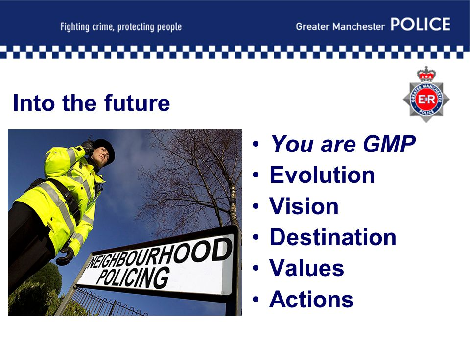 Into the future You are GMP Evolution Vision Destination Values Actions