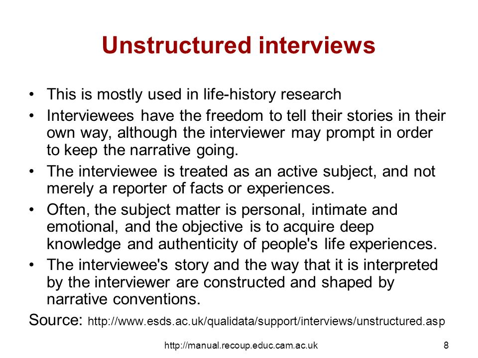 http://manual.recoup.educ.cam.ac.uk9 The sequence of any kind of interview Introduction (rapport formation) Warm up Main body of the interview Cool-off Closure