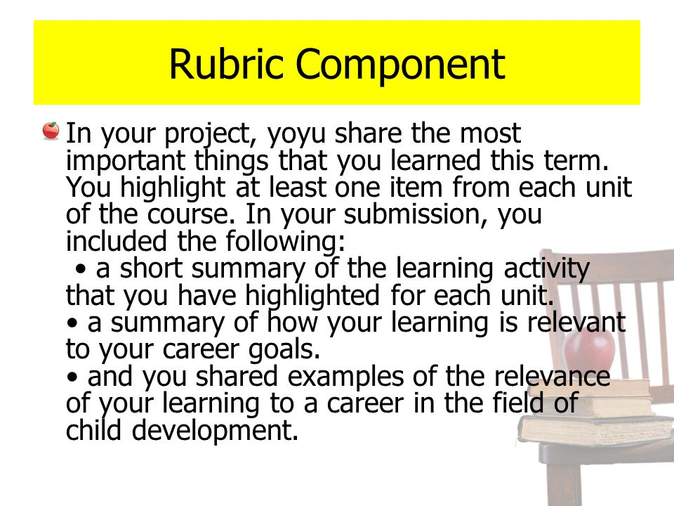 Rubric Component In your project, yoyu share the most important things that you learned this term. You highlight at least one item from each unit of t