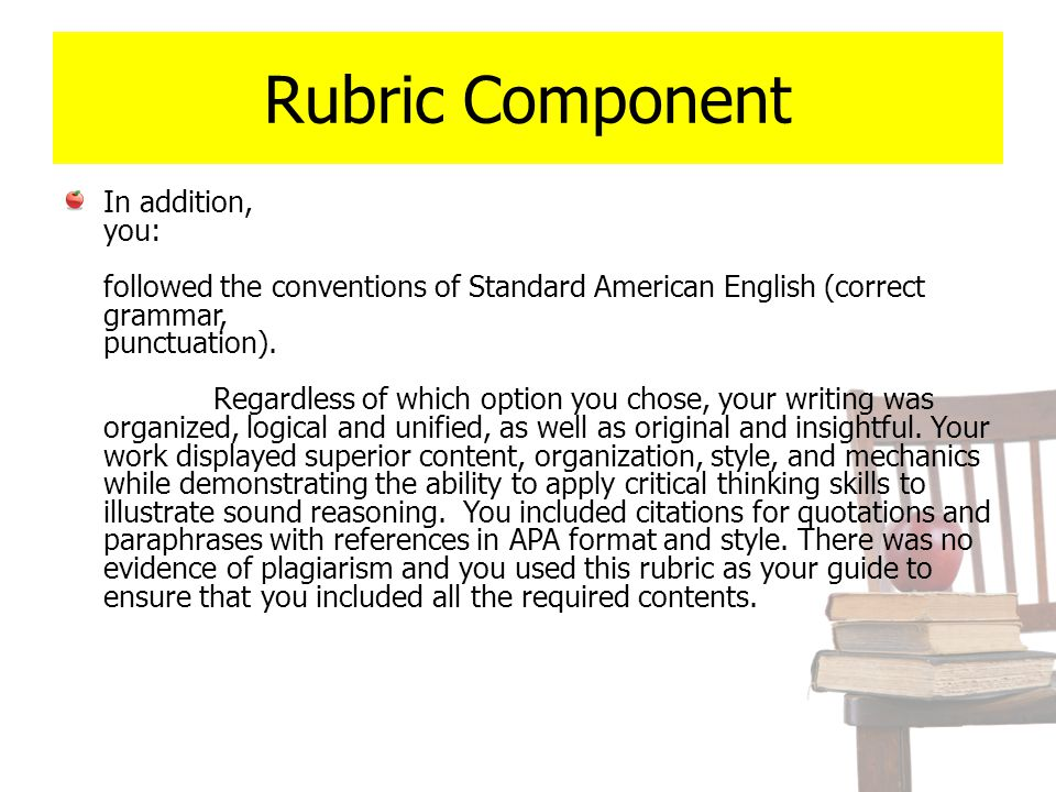 Rubric Component In addition, you: followed the conventions of Standard American English (correct grammar, punctuation). Regardless of which option yo