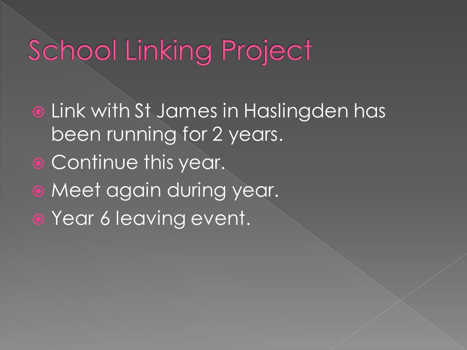  Link with St James in Haslingden has been running for 2 years.
