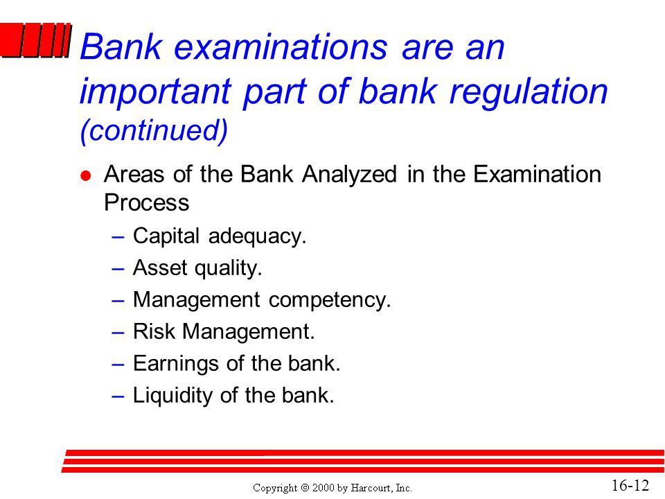 16-12 Bank examinations are an important part of bank regulation (continued) l Areas of the Bank Analyzed in the Examination Process –Capital adequacy