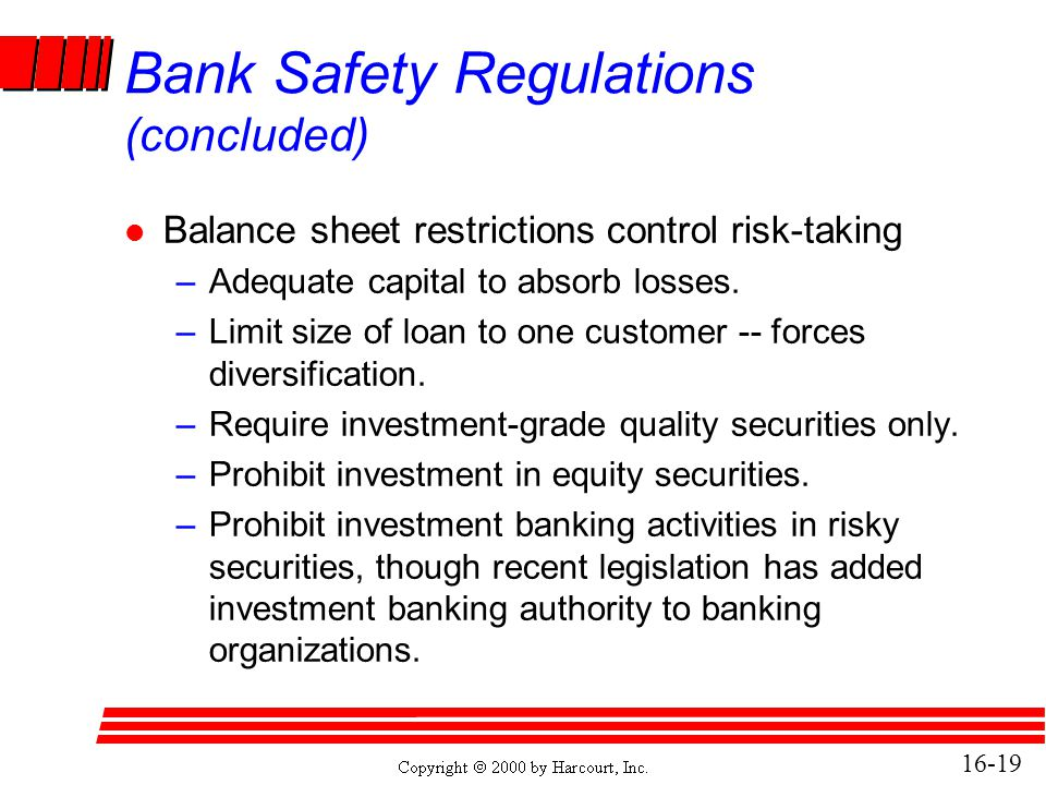16-19 Bank Safety Regulations (concluded) l Balance sheet restrictions control risk-taking –Adequate capital to absorb losses. –Limit size of loan to
