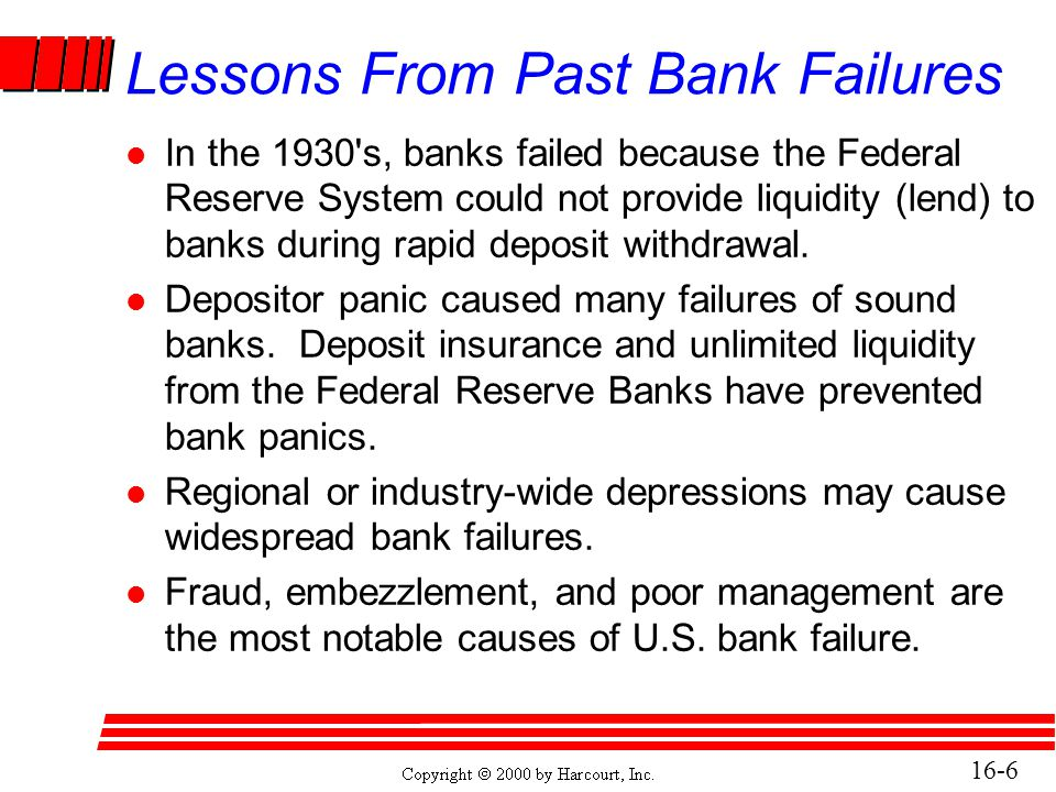 16-17 The FDIC Improvement Act of 1991 (FDICIA) l Required early corrective action for all banks, regardless of size.