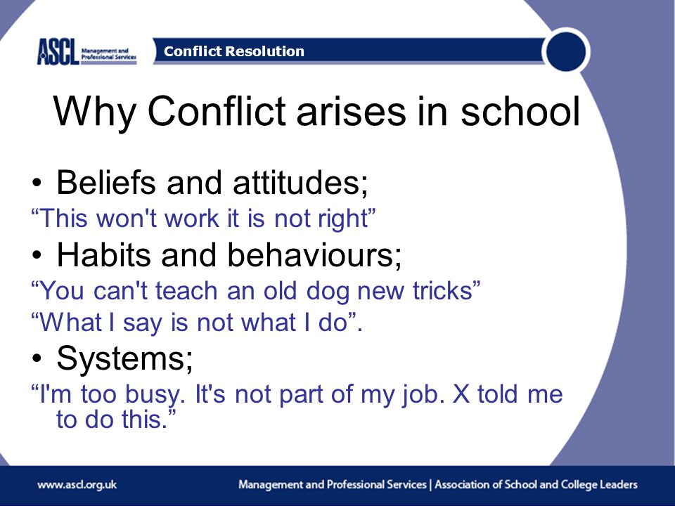 Conflict Resolution Why Conflict arises in school Beliefs and attitudes; This won t work it is not right Habits and behaviours; You can t teach an old dog new tricks What I say is not what I do .