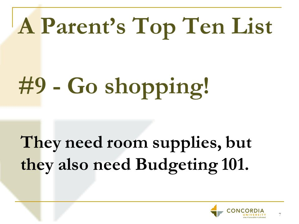 A Parent's Top Ten List #8 - Find a friend to talk to that can emotionally support you. 8