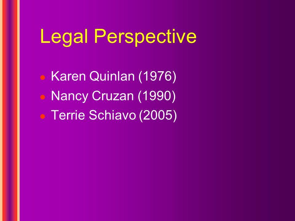 Legal Perspective Karen Quinlan (1976) Nancy Cruzan (1990) Terrie Schiavo (2005)