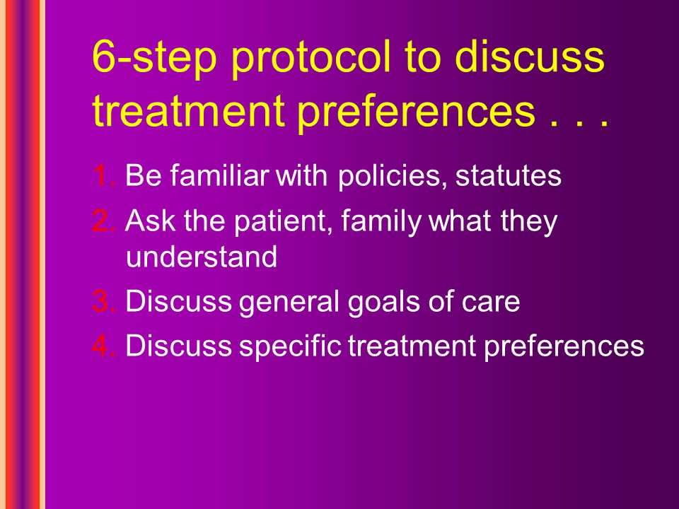 ... 6-step protocol to discuss treatment preferences 5. Respond to emotions 6. Review and revise