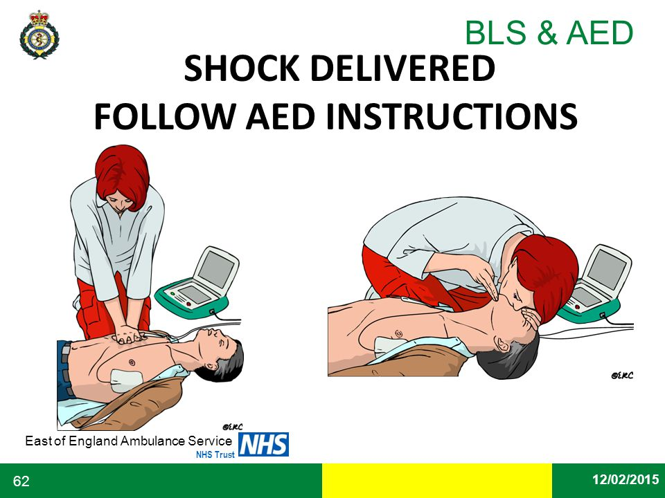 Date East of England Ambulance Service NHS Trust BLS & AED 12/02/2015 62 SHOCK DELIVERED FOLLOW AED INSTRUCTIONS