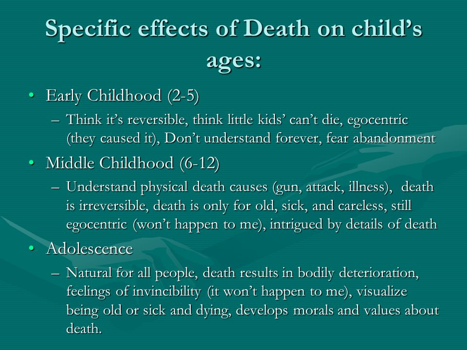 Specific effects of Death on child's ages: Early Childhood (2-5)Early Childhood (2-5) –Think it's reversible, think little kids' can't die, egocentric (they caused it), Don't understand forever, fear abandonment Middle Childhood (6-12)Middle Childhood (6-12) –Understand physical death causes (gun, attack, illness), death is irreversible, death is only for old, sick, and careless, still egocentric (won't happen to me), intrigued by details of death AdolescenceAdolescence –Natural for all people, death results in bodily deterioration, feelings of invincibility (it won't happen to me), visualize being old or sick and dying, develops morals and values about death.
