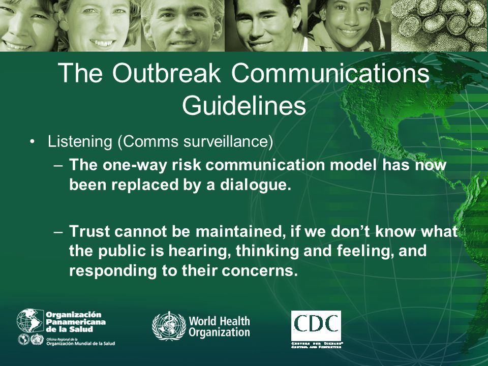 The Outbreak Communications Guidelines Listening (Comms surveillance) –The one-way risk communication model has now been replaced by a dialogue.