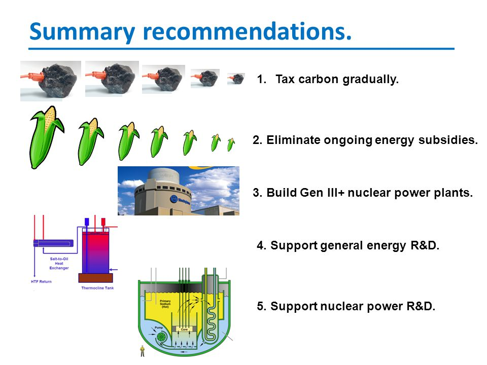 Summary recommendations. 1.Tax carbon gradually. 2.