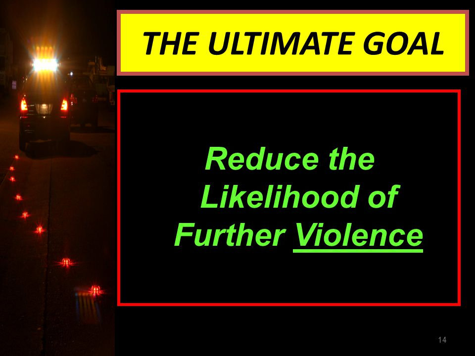 THE ULTIMATE GOAL Reduce the Likelihood of Further Violence 14