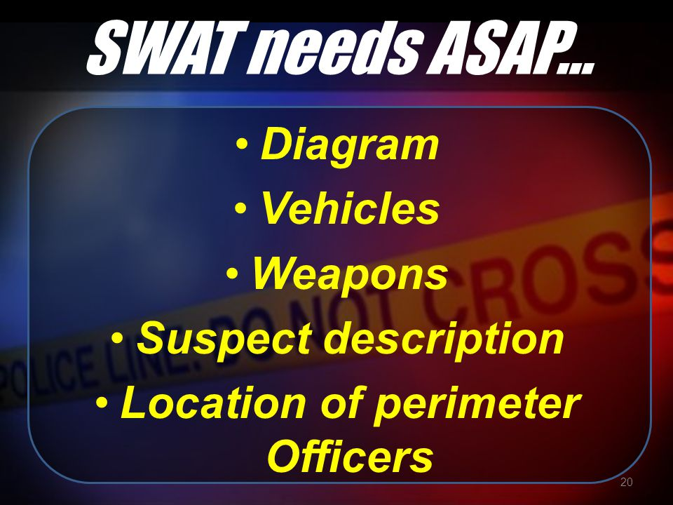SWAT needs ASAP… Diagram Vehicles Weapons Suspect description Location of perimeter Officers 20
