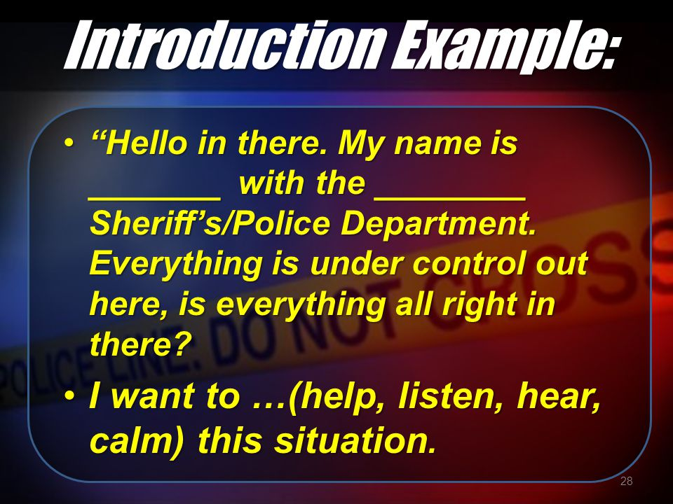 Introduction Example: Hello in there.