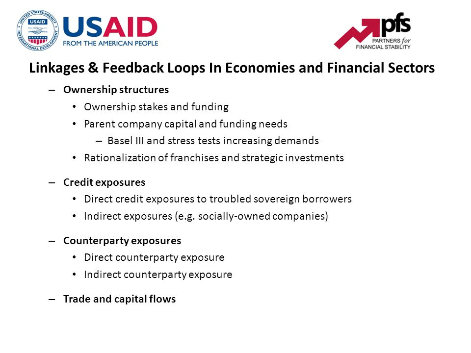 Linkages & Feedback Loops In Economies and Financial Sectors – Ownership structures Ownership stakes and funding Parent company capital and funding needs – Basel III and stress tests increasing demands Rationalization of franchises and strategic investments – Credit exposures Direct credit exposures to troubled sovereign borrowers Indirect exposures (e.g.
