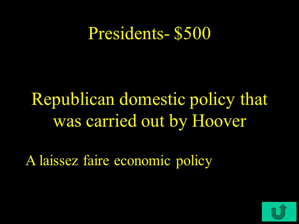 C3-$400 Presidents- $400 Term for shantytowns that showed people's disgust with the president Hoovervilles