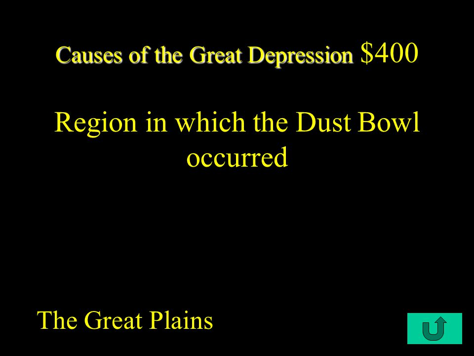 C1-$300 Causes of the Great Depression Causes of the Great Depression $300 Which of the following is NOT a cause of the Great Depression: a.