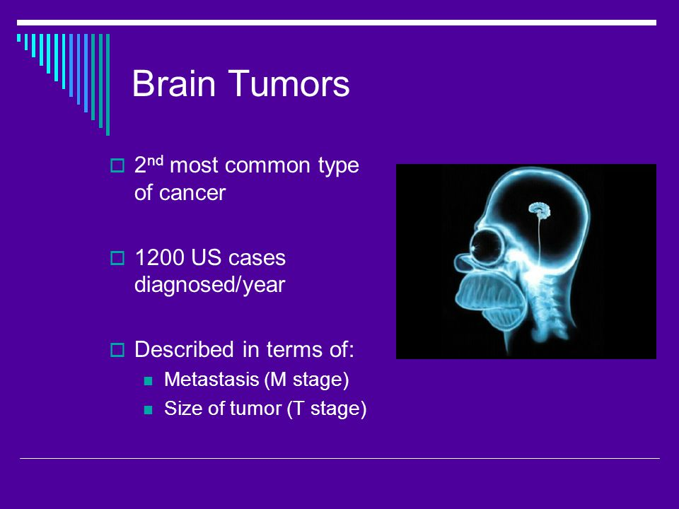 Brain Tumors  2 nd most common type of cancer  1200 US cases diagnosed/year  Described in terms of: Metastasis (M stage) Size of tumor (T stage)