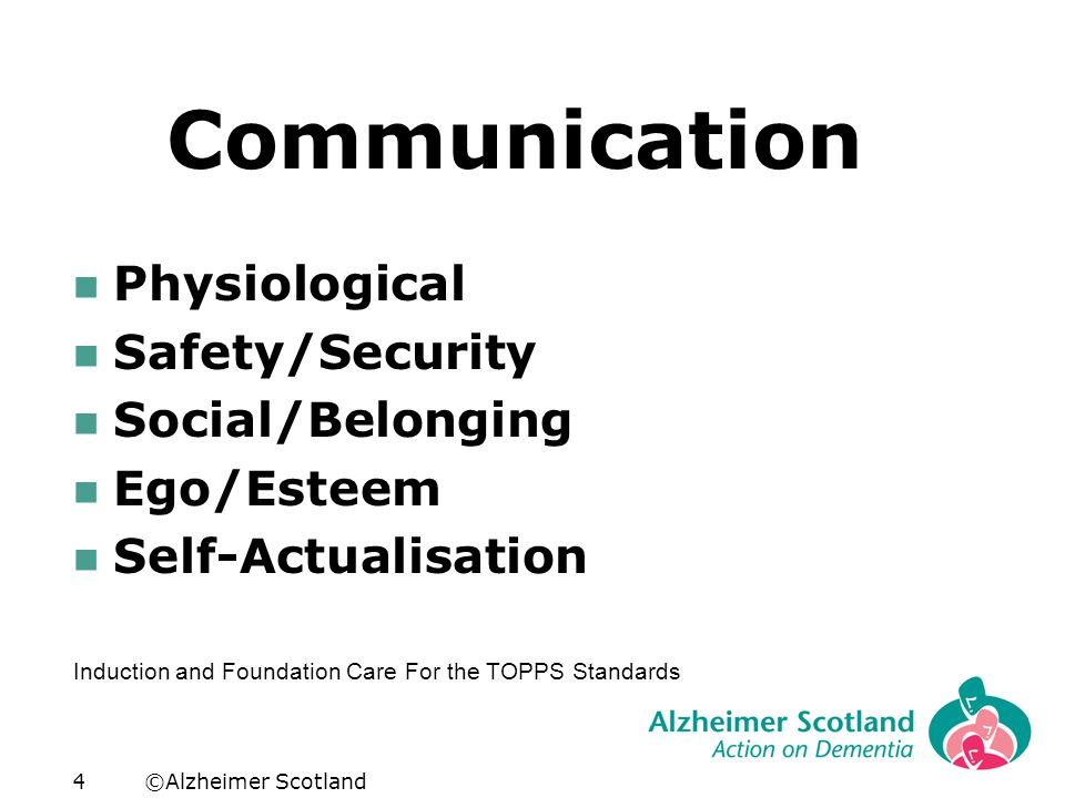 ©Alzheimer Scotland4 Communication Physiological Safety/Security Social/Belonging Ego/Esteem Self-Actualisation Induction and Foundation Care For the