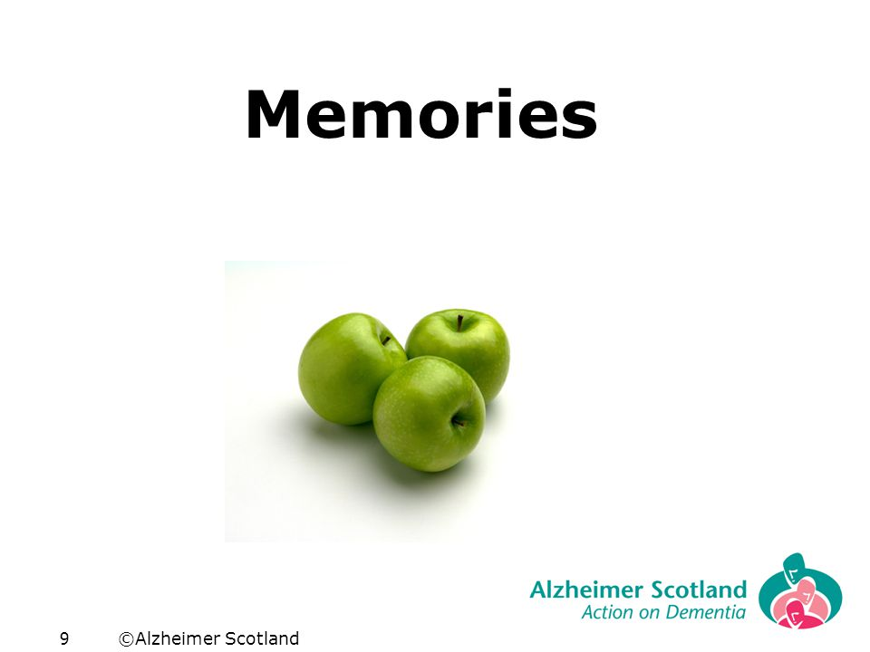 ©Alzheimer Scotland10 Words Linked to Images Shape Colour Texture Smell Taste Sound