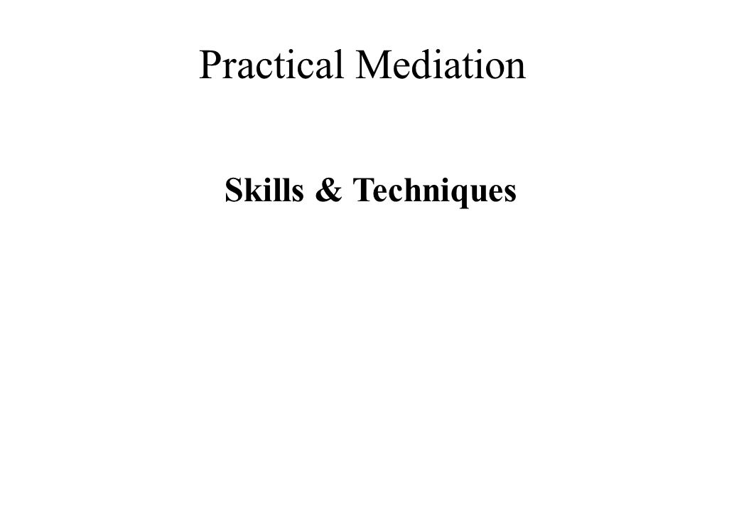 Practical Mediation Skills & Techniques © Lili Hunter Consulting Ltd