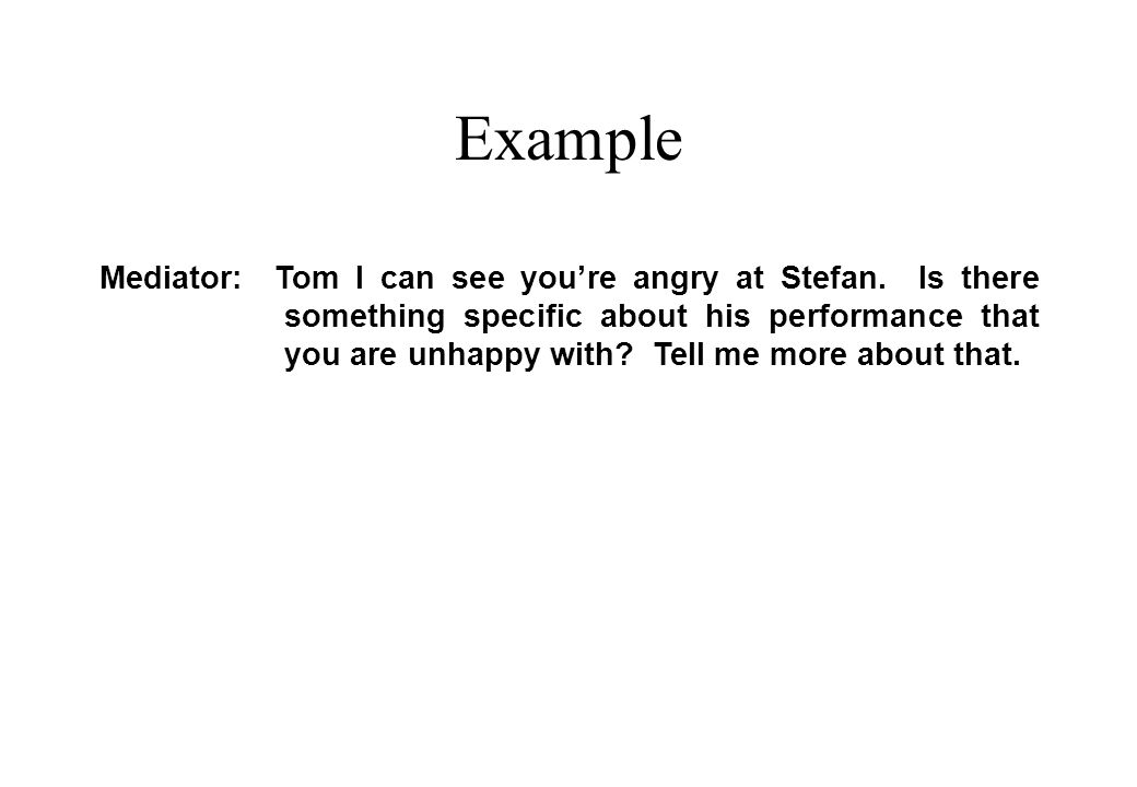 Example Mediator: Tom I can see you're angry at Stefan.