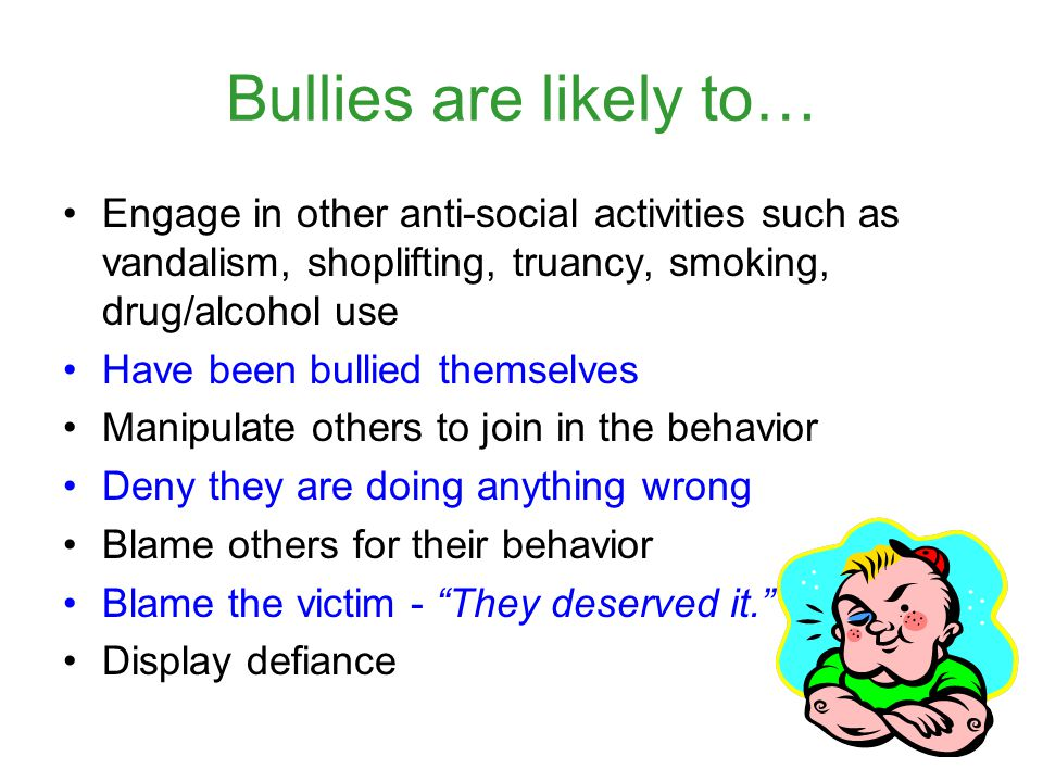 Bullies are likely to… Engage in other anti-social activities such as vandalism, shoplifting, truancy, smoking, drug/alcohol use Have been bullied the