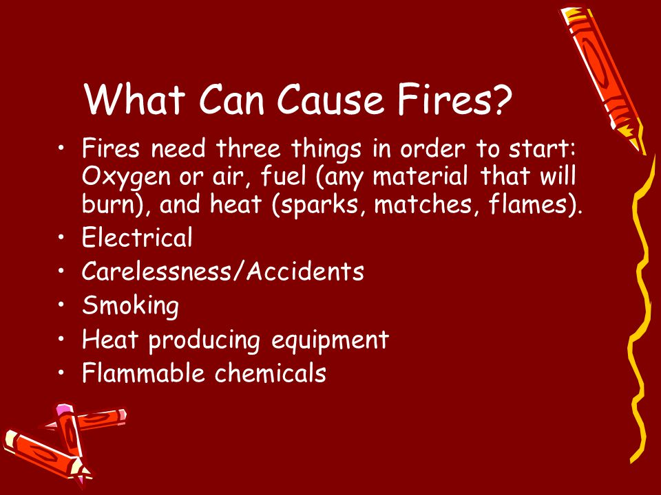 What Can Cause Fires? Fires need three things in order to start: Oxygen or air, fuel (any material that will burn), and heat (sparks, matches, flames)