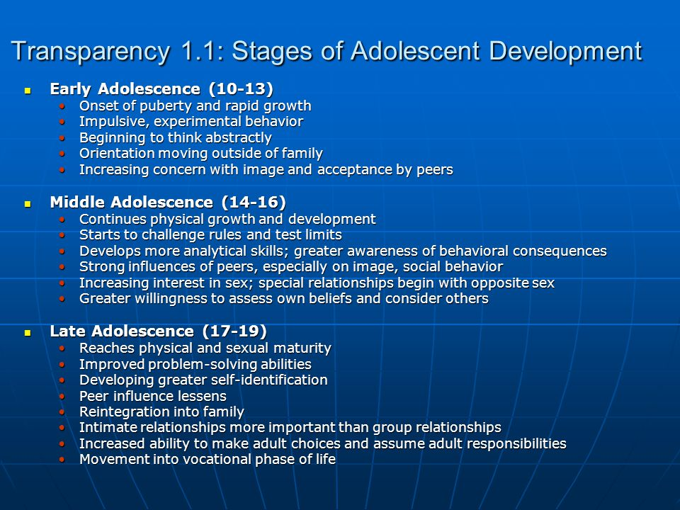 Transparency 1.1: Stages of Adolescent Development Early Adolescence (10-13) Early Adolescence (10-13) Onset of puberty and rapid growthOnset of puberty and rapid growth Impulsive, experimental behaviorImpulsive, experimental behavior Beginning to think abstractlyBeginning to think abstractly Orientation moving outside of familyOrientation moving outside of family Increasing concern with image and acceptance by peersIncreasing concern with image and acceptance by peers Middle Adolescence (14-16) Middle Adolescence (14-16) Continues physical growth and developmentContinues physical growth and development Starts to challenge rules and test limitsStarts to challenge rules and test limits Develops more analytical skills; greater awareness of behavioral consequencesDevelops more analytical skills; greater awareness of behavioral consequences Strong influences of peers, especially on image, social behaviorStrong influences of peers, especially on image, social behavior Increasing interest in sex; special relationships begin with opposite sexIncreasing interest in sex; special relationships begin with opposite sex Greater willingness to assess own beliefs and consider othersGreater willingness to assess own beliefs and consider others Late Adolescence (17-19) Late Adolescence (17-19) Reaches physical and sexual maturityReaches physical and sexual maturity Improved problem-solving abilitiesImproved problem-solving abilities Developing greater self-identificationDeveloping greater self-identification Peer influence lessensPeer influence lessens Reintegration into familyReintegration into family Intimate relationships more important than group relationshipsIntimate relationships more important than group relationships Increased ability to make adult choices and assume adult responsibilitiesIncreased ability to make adult choices and assume adult responsibilities Movement into vocational phase of lifeMovement into vocational phase of life
