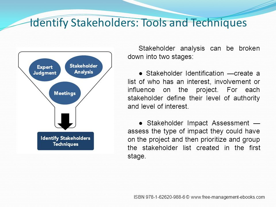 Identify Stakeholders: Tools and Techniques Stakeholder analysis can be broken down into two stages: ● Stakeholder Identification —create a list of who has an interest, involvement or influence on the project.