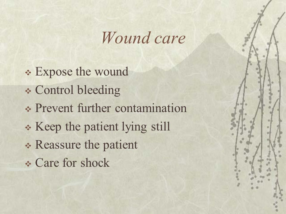 Wound care  Expose the wound  Control bleeding  Prevent further contamination  Keep the patient lying still  Reassure the patient  Care for shock