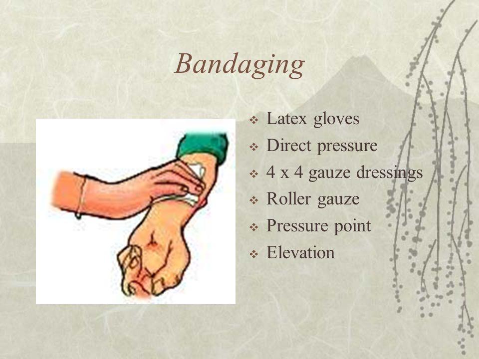 Bandaging  Latex gloves  Direct pressure  4 x 4 gauze dressings  Roller gauze  Pressure point  Elevation
