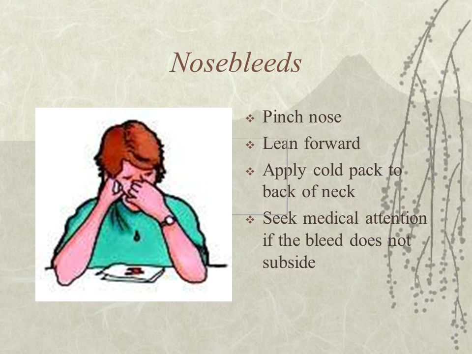 Nosebleeds  Pinch nose  Lean forward  Apply cold pack to back of neck  Seek medical attention if the bleed does not subside