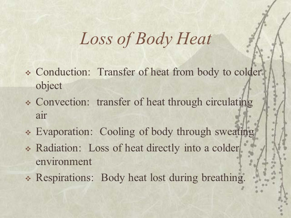 Loss of Body Heat  Conduction: Transfer of heat from body to colder object  Convection: transfer of heat through circulating air  Evaporation: Cool