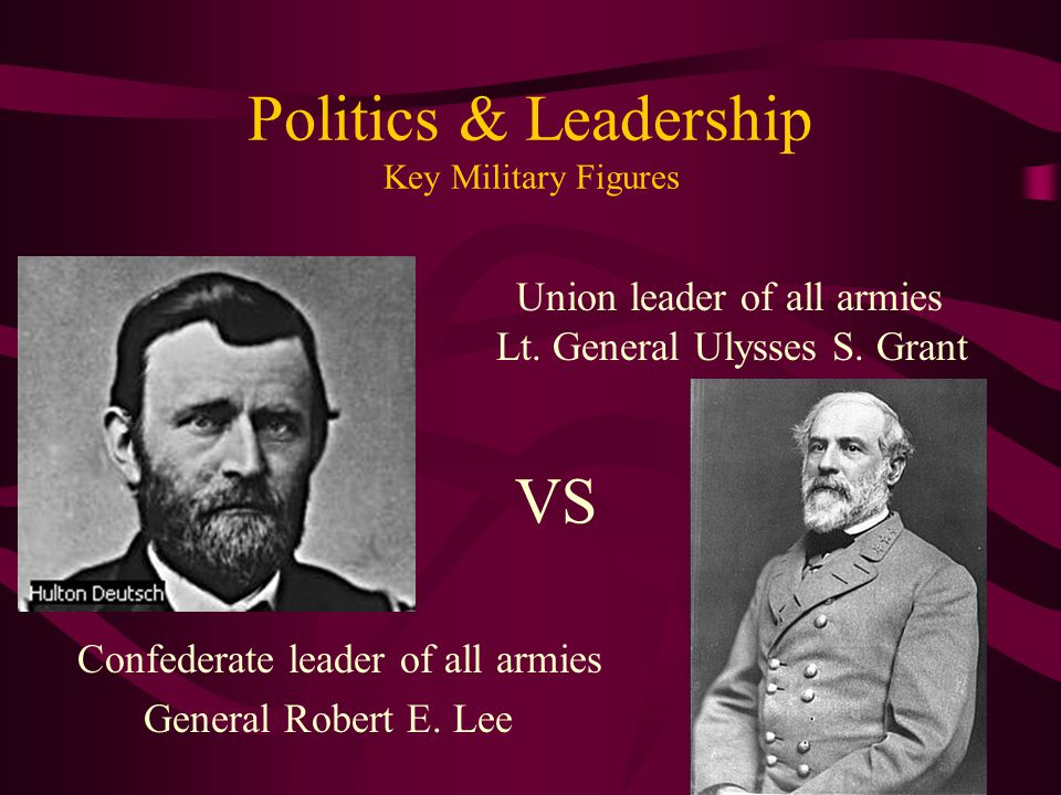 Politics & Leadership Key Military Figures Confederate leader of all armies General Robert E. Lee Union leader of all armies Lt. General Ulysses S. Gr