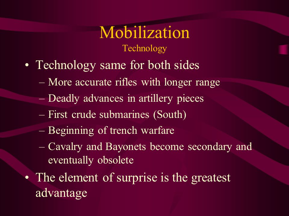 Mobilization Technology Technology same for both sides –More accurate rifles with longer range –Deadly advances in artillery pieces –First crude subma