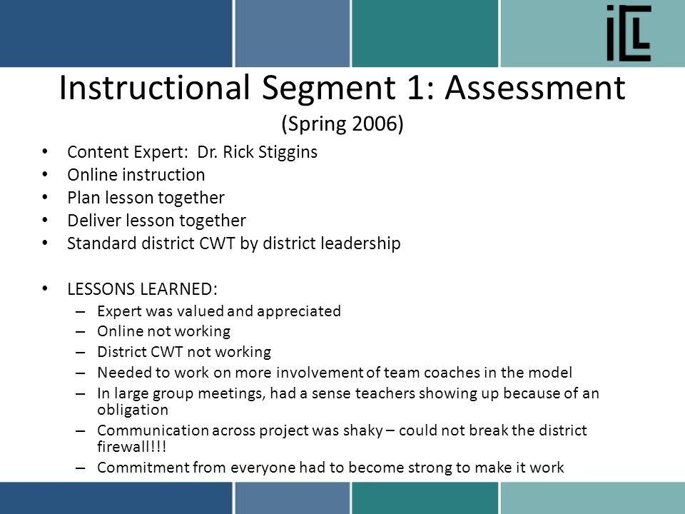 Instructional Segment 1: Assessment (Spring 2006) Content Expert: Dr.