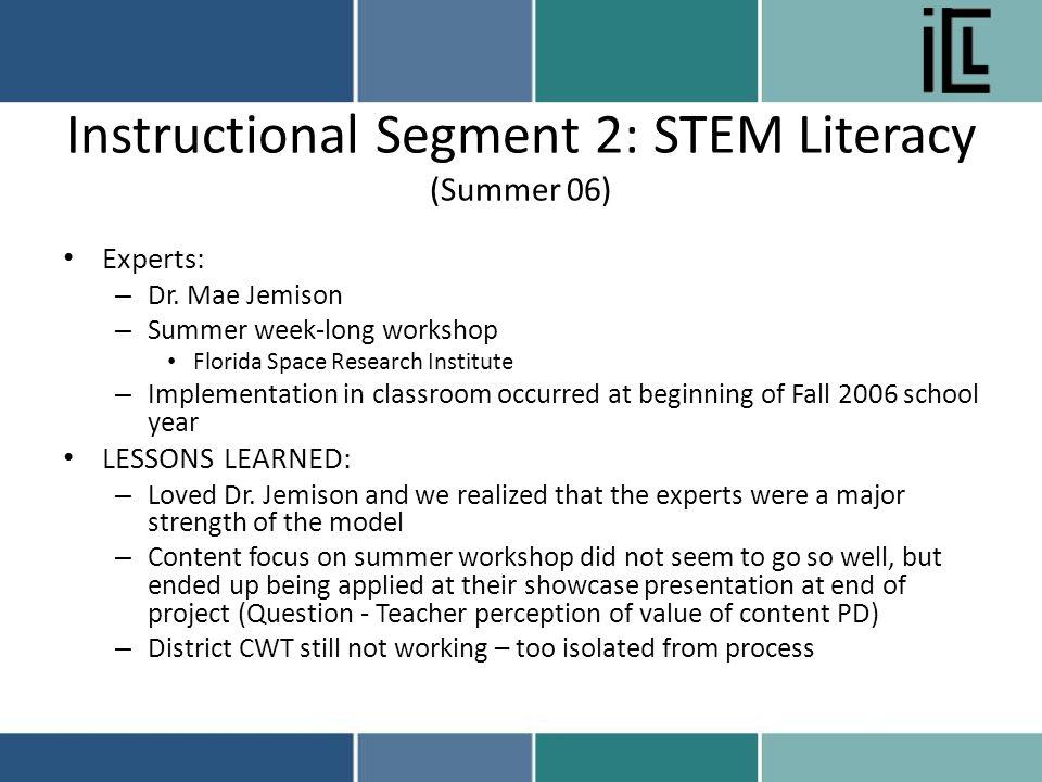 Instructional Segment 2: STEM Literacy (Summer 06) Experts: – Dr.